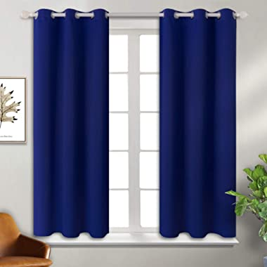 BGment Blackout Curtains - Grommet Thermal Insulated Room Darkening Bedroom and Living Room Curtain, Set of 2 Panels (38 x 45 Inch,Royal)