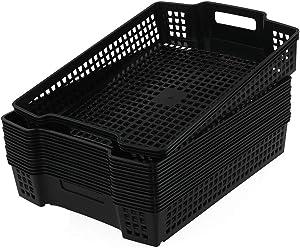 "Sandmovie Large Basket Tray for Storage Plastic Kitchen Classroom Office Organizer 15.16"" x 11.02"" x 2.56"", Black, 6 Packs"