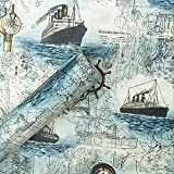 Nautical Map Sailing Contact Paper Self Adhesive Vinyl Wall Sticker for Kids Room Bedroom Door Wall Decal 17 x 393 inch