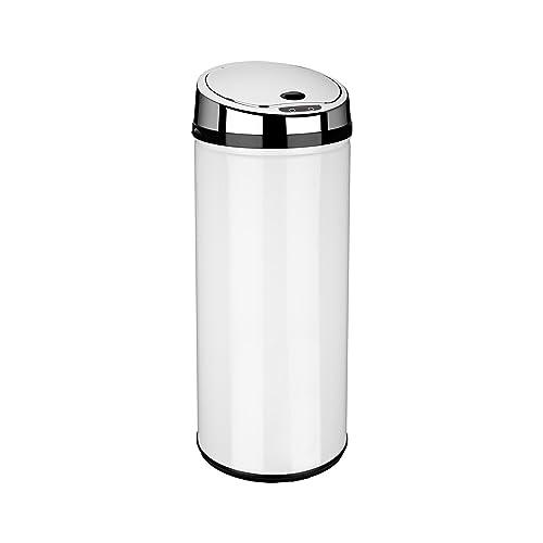 Dihl Round Sensor Bin, Stainless Steel, White, 42 Litre
