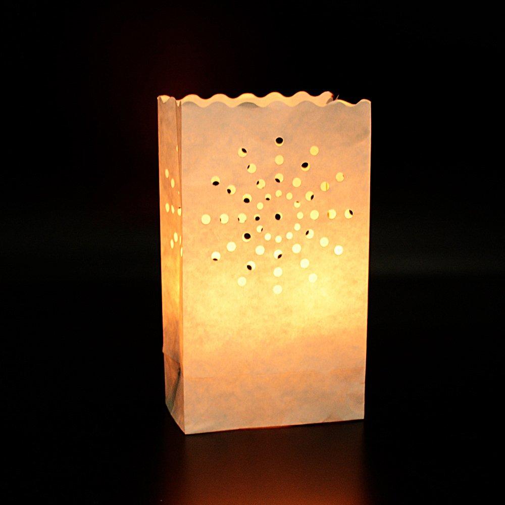 (26 x 15 x9cm)50pcs Sac à Bougie Lumière de Thé en Papier Ignifuge Lanterne Lampe Luminaire Doubles Soleil pour Decoration Maison Mariage Anniversaire Fete DEOMOR