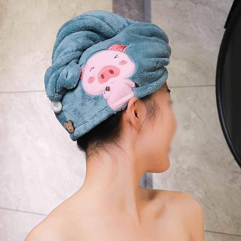 masajes y ejercicio spa Bordado Toalla for el cabello|Caricatura Sombrero absorbente|Turbante de Lana de coral cabello|Port/átil Lindo Gorro De Ba/ño Toalla De Secado R/ápido|Maquillaje ducha A-Toall