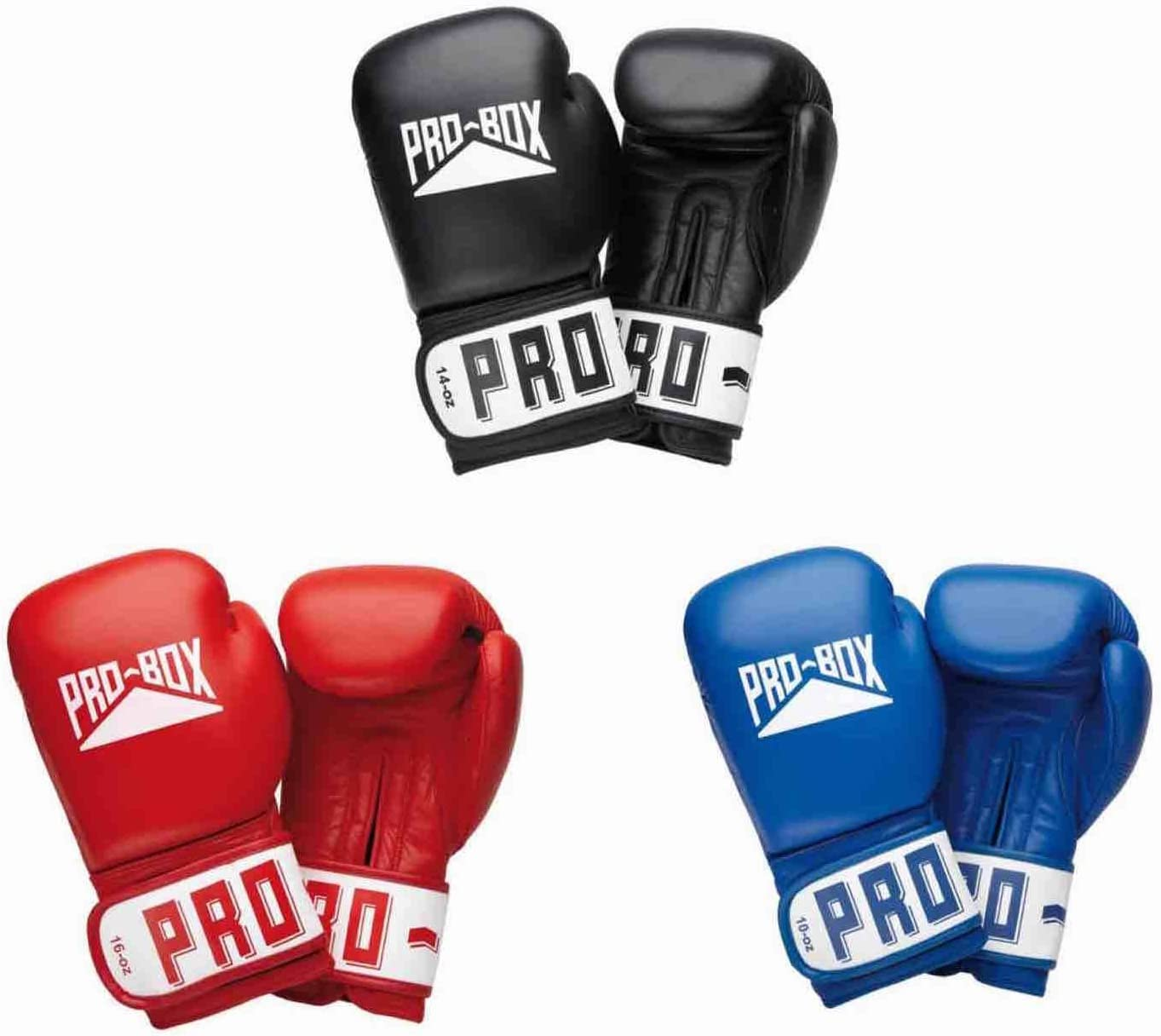 Pro Box LEATHER CLUB ESSENTIALS BLACK GLOVES SPARRING TRAINING BOXING