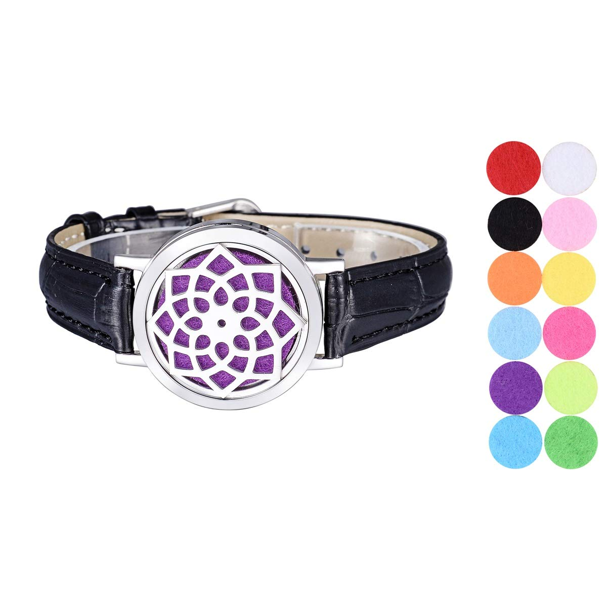 SG Aromatherapy Essential Oil Diffuser Bracelet Stainless Steel Locket Bangle PU Leather Band 12 Refill Pads
