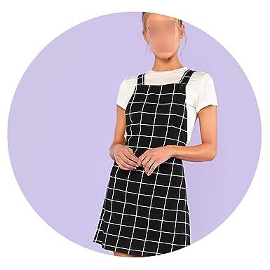 ffb08d814e80e winkstores Bib Pocket Front Grid Pinafore Dress 2019 Summer ...
