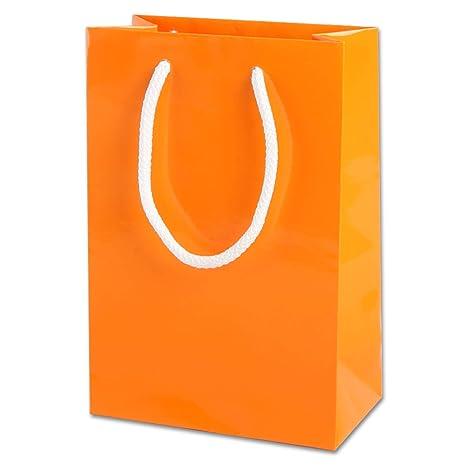 Thepaperbagstore 15 Bolsas Pequeñas De Papel para Fiestas Y Regalos, Brillantes, con Manijas De Cuerda - Naranjas - 150x220x80mm