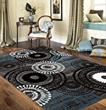 Rugshop Contemporary Circles Area Rug, 7′ 10″ x 10′ 2″, Blue/Gray