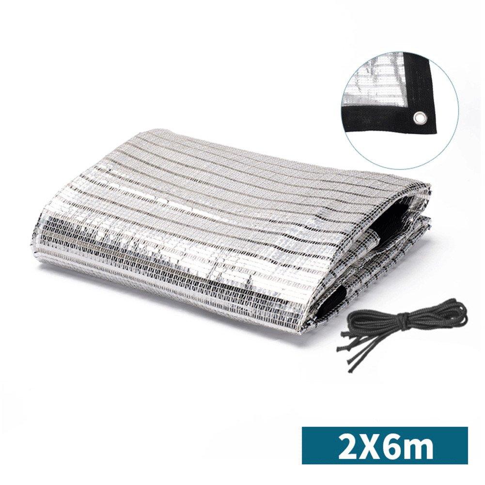 QINAIDI Silberne Weiße Reflektierende Aluminiumfolie-Schatten-Nettoisolierung Silbernes Schattennetz (Mehrfache Größen),2M6M