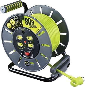 Amazon.com: Masterplug OLA801114G4SL-US 80FT Large Cord Reel, 80', Lime  green: Electronics