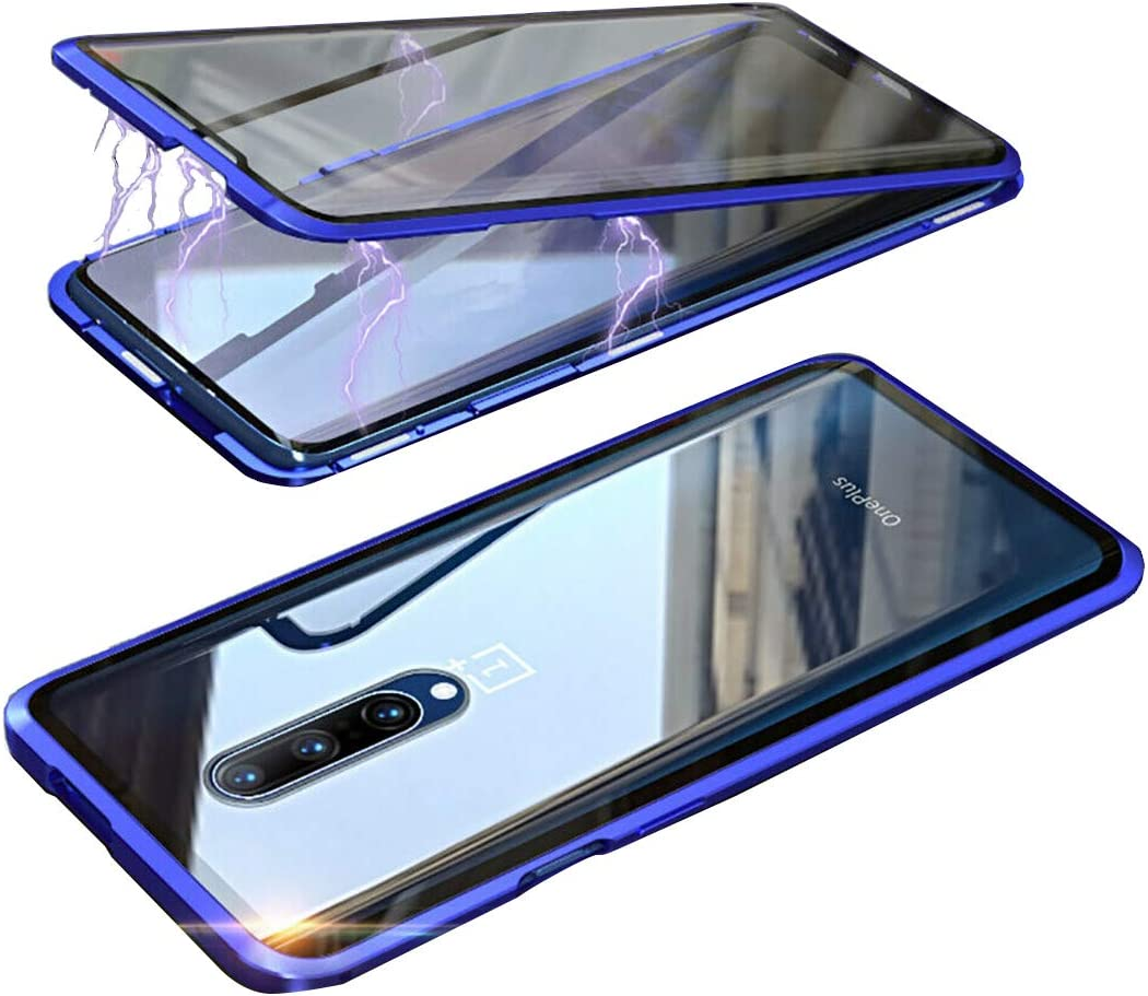 Blue LANYOS Compatible OnePlus 7 Pro Case Full Body with Built-in Screen Protector Magnetic Clear Double-Sided Tempered Glass Cover with a Screen Cleaning Paper