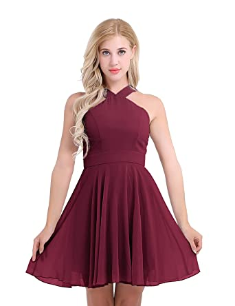 Freebily Womens Chiffon Halter Neck Sleeveless Evening Party Prom Gown Bridesmaid Short Dress Burgundy UK Size
