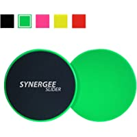 Synergee Core Exercise Sliders. Dual Sided Use on Carpet or Hardwood Floors. Abdominal Exercise Equipment