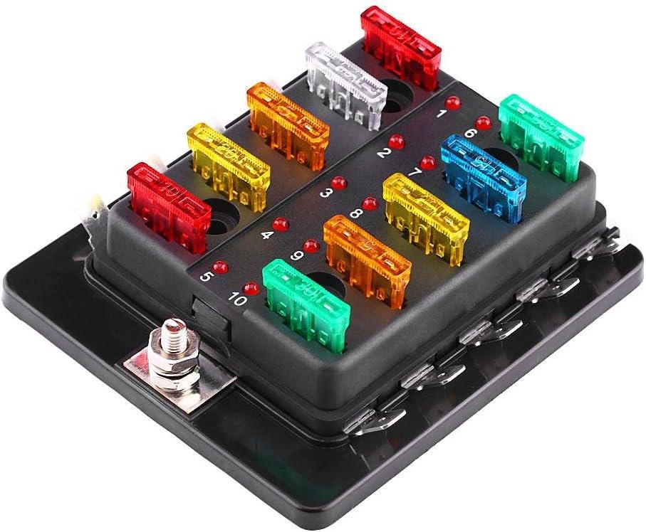 Gorgeri 10 Way Blade Fuse Holder Box Sicherungsblock Universal Circuit Fuse Box Block Halter mit 32 V LED Warnlicht Kit f/ür Auto Van Boat Marine