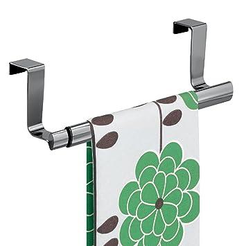 mDesign Handtuchhalter ausziehbar zum Aufhängen - Farbe: Schwarz ... | {Küchenschränke aufhängen 41}