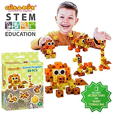 Click-A-Brick Animal Kingdom 30pc Building Blocks Set | Best STEM Toys for Boys & Girls Age 4 5 6 Year Old | Fun Kids 3D Construction Puzzle | Top Educational Learning Gift for Children Ages 4-10: Toys & Games