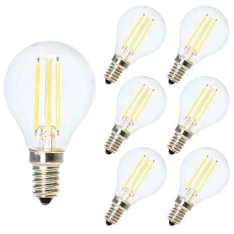 6X E14 Bombillas de Filamento Globo LED G45 E14 4W Blanco frío 6500K Diametro 45MM Equivalencia