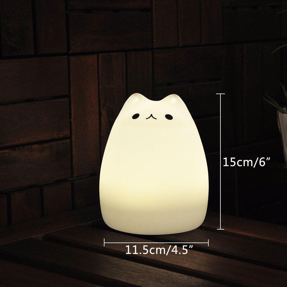 Lamps with night light - Amazon Com Umiwe Cute Kitty Led Children Night Light Kids Silicone Cat Lamp 7 Color Flashing Usb Rechargeable Lighting Warm White Light Baby
