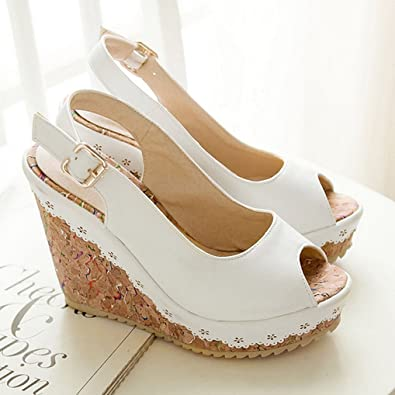Oaleen Sandales Bout Ouvert Femme Eté Bride Cheville Chaussures Talon  Compensé Plateforme Blanche 34
