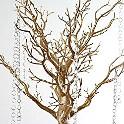 BalsaCircle 30-inch Tall Gold Glittered Manzanita Tree with Acrylic Garlands - Wedding Home Centerpieces Decorations DIY Supplies