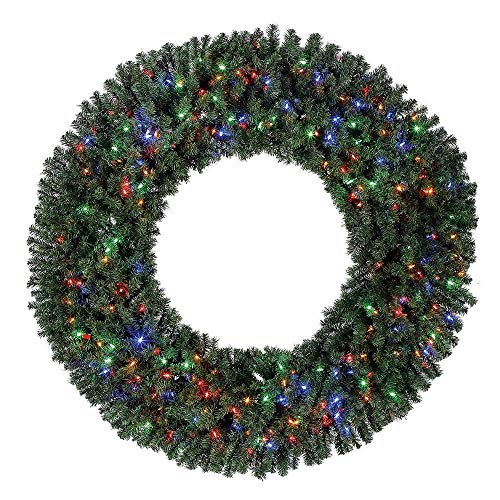Home Heritage 60 Inch Pre-Lit Holiday Christmas Wreath w/ 300 Color LED Lights and 1180 PVC Tips (60 Outdoor Inch Christmas Wreath)