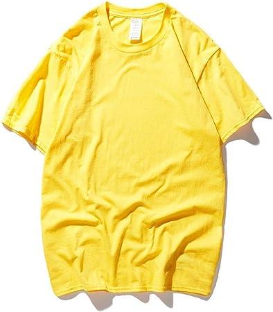 Manga Corta Camiseta de Cuello Redondo for Hombre de los niños Sumer Manga Corta Camisetas en Color Liso Oversized Loose 1-Pack Playera Playera (Color : Amarillo, tamaño : L): Amazon.es: Hogar