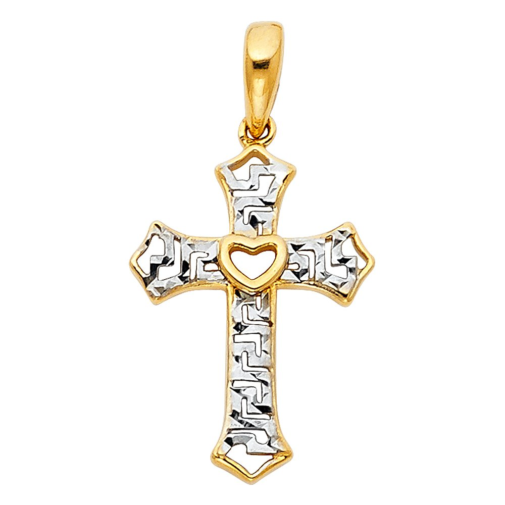 Cut-out 24mm x 12mm 14k Two-tone Religious Small Cross Charm Pendant with Heart Center