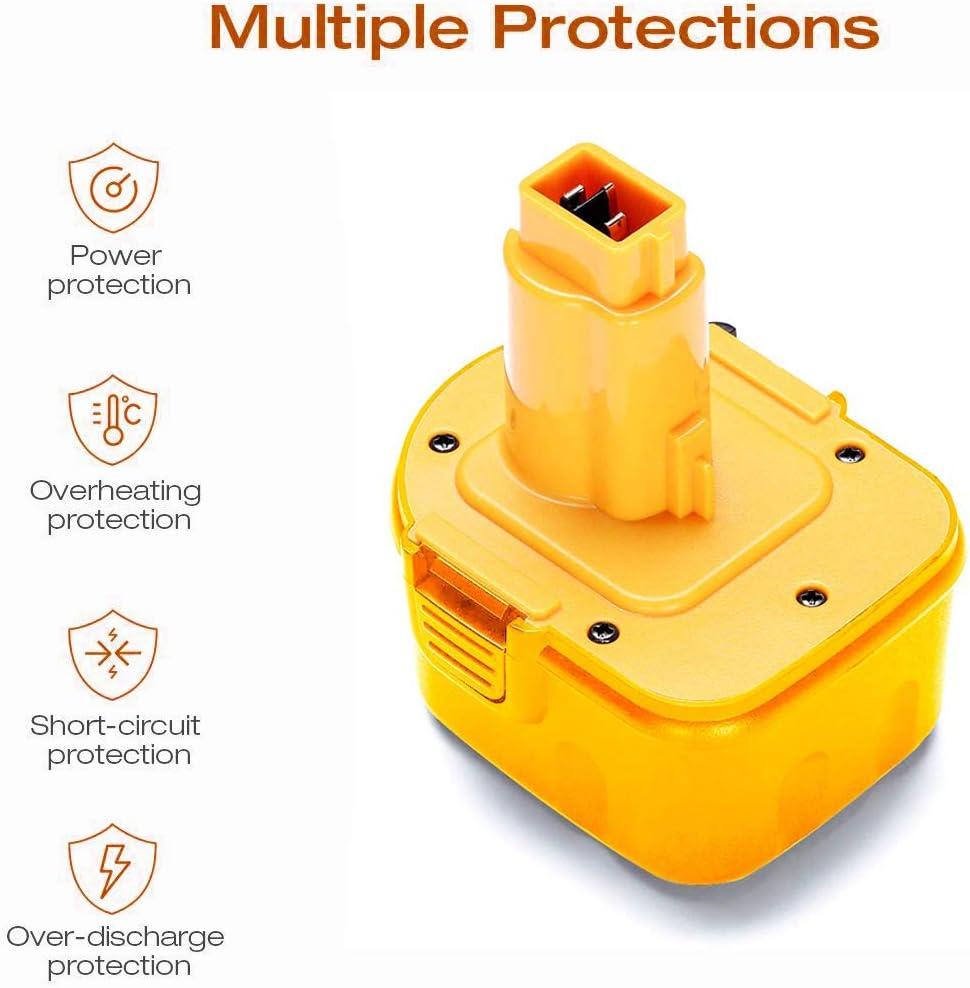 Ni-HM Battery for Dewalt DW9072 DC9071 DE9037 DE9071 DE9072 DE9074 DE9075 152250-27 397745-01 Cordless Tool Battery 2Pack 3600mAh 12V DW9071 for Dewalt Replacement Battery
