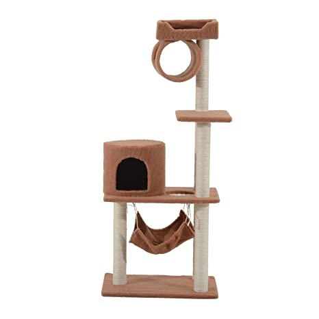 PawHut Árbol para Gatos de caseta Sisal Parque Juegos Juguete 58 × 40 × 140 cm