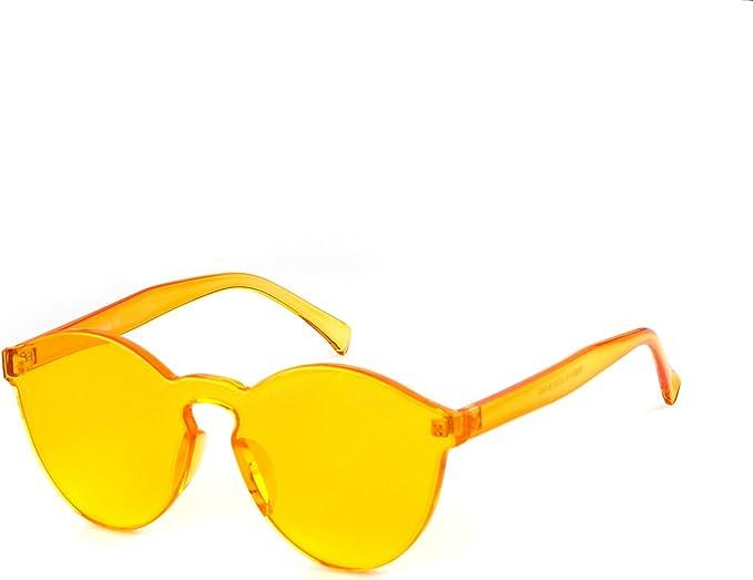 ADEWU Gafas de sol sin montura de una pieza Gafas de sol de colores transparentes