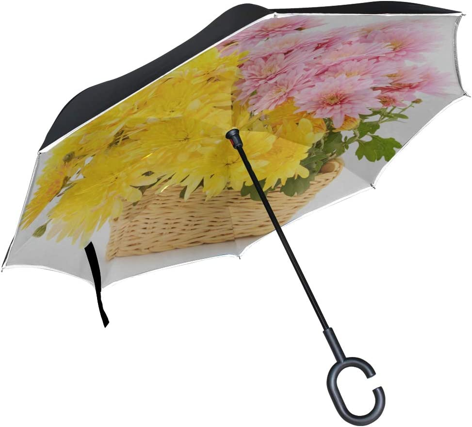 Double Layer Inverted Inverted Umbrella Is Light And Sturdy Beautiful Bouquet Chrysanthemum Flowers Basket Isolated Reverse Umbrella And Windproof Um