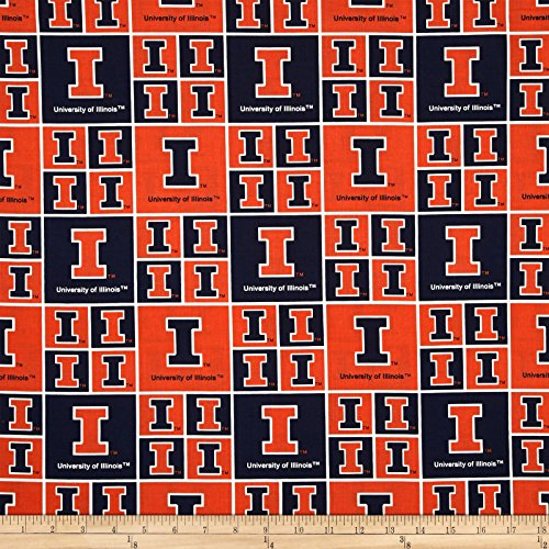 Sykel Enterprises Collegiate Cotton Broadcloth University of Illinois Orange Fabric by The Yard, ()