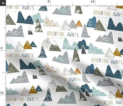 Spoonflower Mountain Fabric - Mountain Adventure Explore Outdoors Camping  Boy Nursery Organic Kni by Nouveau Bohemian Printed on Basic Cotton Ultra
