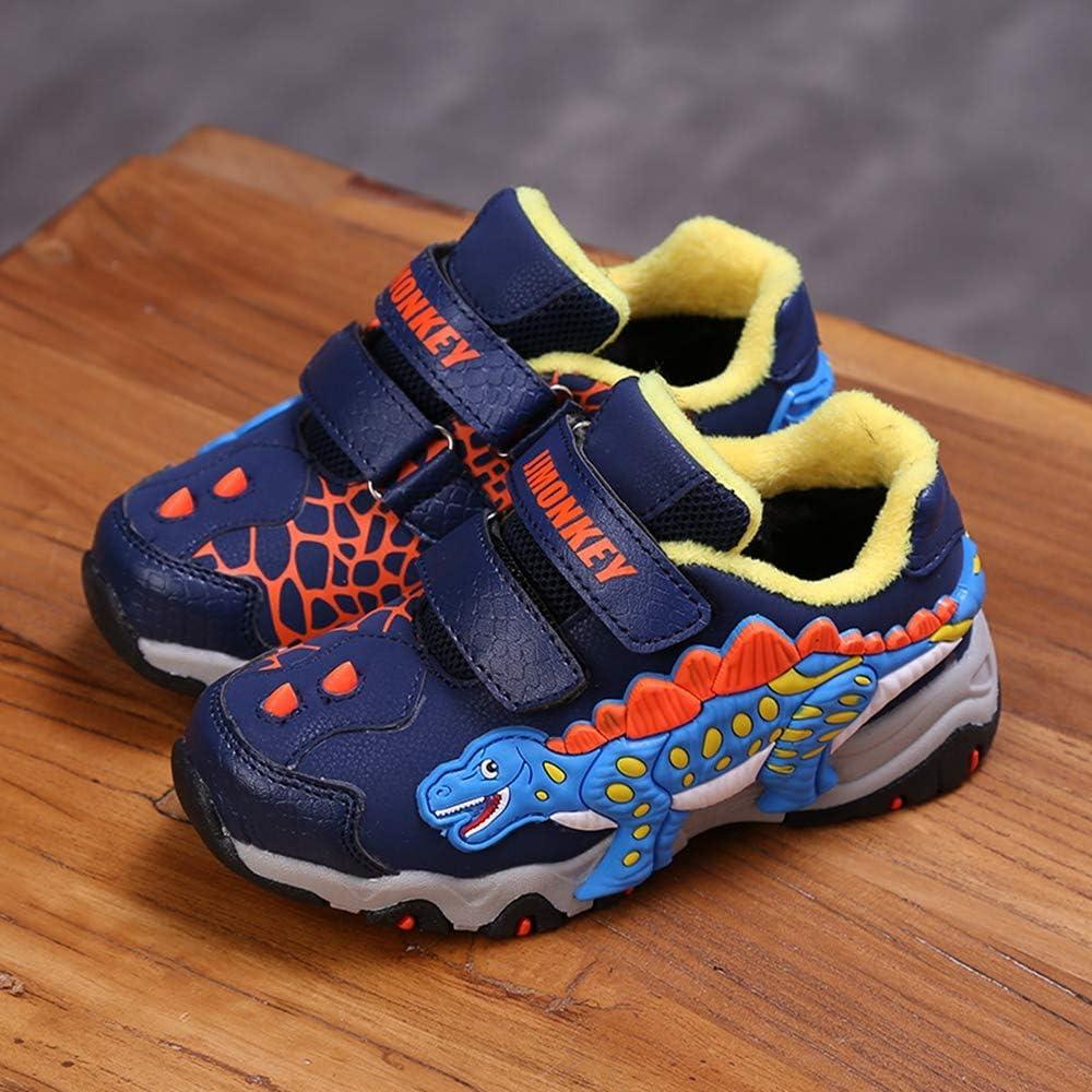 ROKIDS Boys 3D Dinosaur Breathable Running Shoes Single Shoes /& Plus Velvet