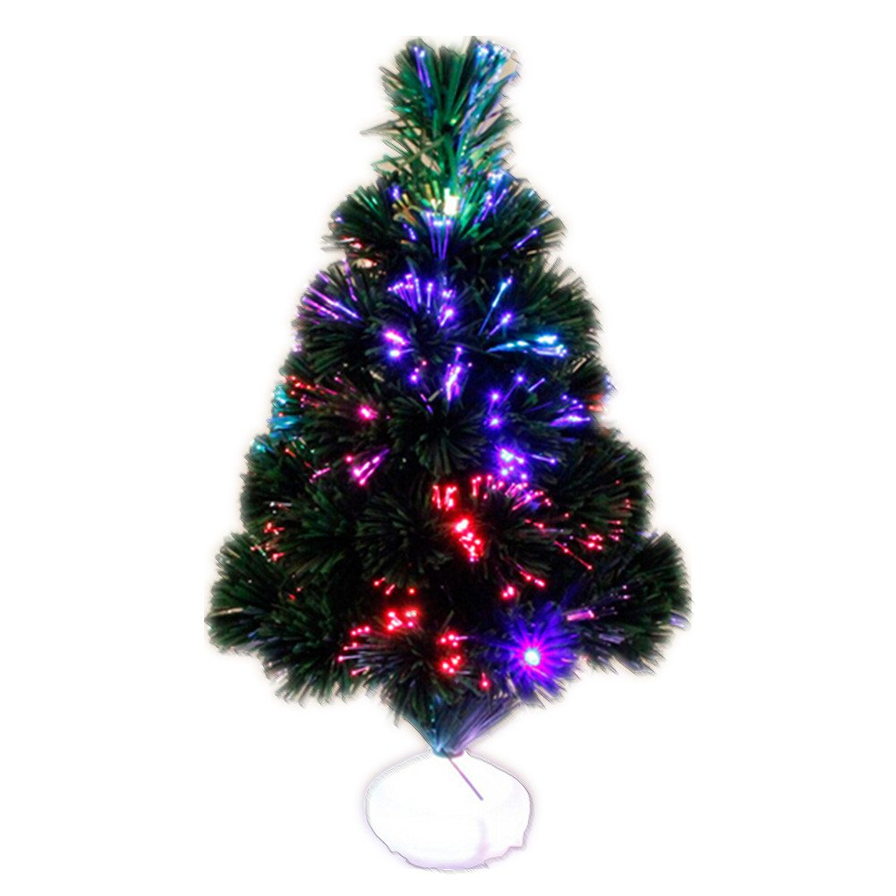 """Hofumix 17"""" Tabletop Tree Mini Artificial Pine Tree Small Model Tree with Multi Color LED Lights Fibre Optical Tree(1 Pack)"""