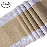 ARKSU 10Packs Burlap Table Runner with White Lace Trim,12 by 120 inch No-fray Jute Hessian Vintage Rustic Natural Wedding Christmas Country Outdoor Decor