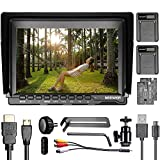 Neewer NW759 7 inches 1280x800 IPS Screen Camera Monitor with 2 Pieces USB Battery Charger + 2 Packs F550 Replacement Battery for Sony Canon Nikon Olympus Pentax Panasonic
