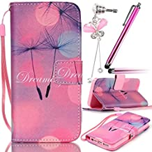 """Sunroyal Premium Flip PU Leather Case Cover for Apple iPhone 5 5S TPU Inner Gel Case Soft Thin Silicone Back Bumper with Magnetic Closure [ Stand Function ] [ Card Holder ] 1x Metal Stylus Touch Pen + Butterfly Bow Bling Rhinestone Crystal Anti Dust Plug , Floated Dandelion Letter """"Dreaming"""" Pink Rose Bottom Pattern Case"""