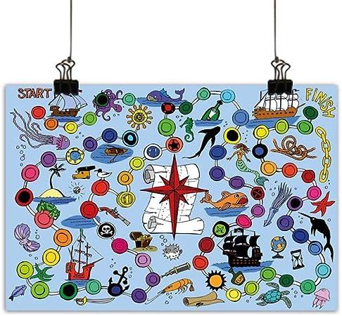 duommhome Juego de Mesa de Pared Arte Póster Pintura Pirata temática Juego de Inicio y Acabado Colorido Lunares Animales de mar náuticos símbolos Decoraciones hogar decoración 20 x 16 Pulgadas: Amazon.es: Hogar