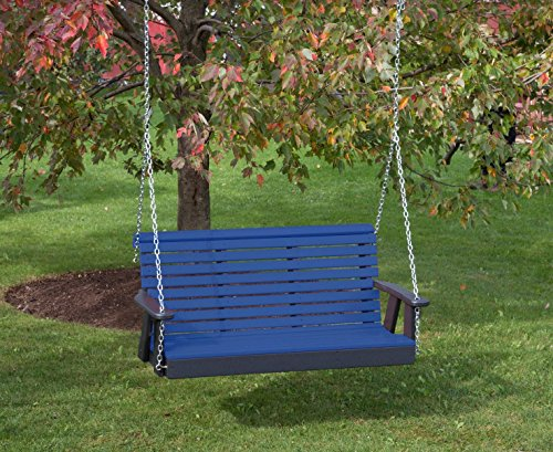 4FT-BLUE-POLY LUMBER ROLL BACK Porch Swing Heavy Duty EVERLASTING PolyTuf HDPE - MADE IN USA - AMISH CRAFTED