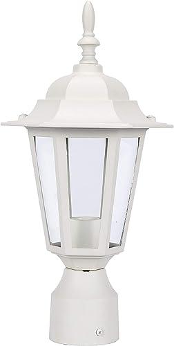 LIT-PaTH Outdoor Post Light Pole Lantern Lighting Fixture with One E26 Base Max 60W, Aluminum Housing Plus Glass, Matte White Finish
