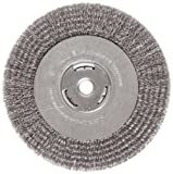 Weiler Vortec Pro Wide Face Wire Wheel Brush, Round Hole, Carbon Steel, Crimped Wire, 8'' Diameter, 0.014'' Wire Diameter, 5/8'' Arbor, 1-3/8'' Bristle Length, 1'' Brush Face Width, 6000 rpm