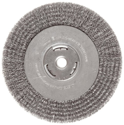 Weiler Vortec Pro Wide Face Wire Wheel Brush, Round Hole, Carbon Steel, Crimped Wire, 8