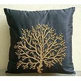 "Designer Black Pillow Shams, Beaded Tree Pillow Shams, 24""x24"" Pillow Shams, Square Silk Shams, Contemporary Pillow Shams - Celebrated Tree"