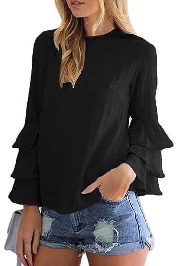 La Mujer De Manga Larga con Volantes Sueltos Llanura Tunica Blusa Top tee T Shirt Black
