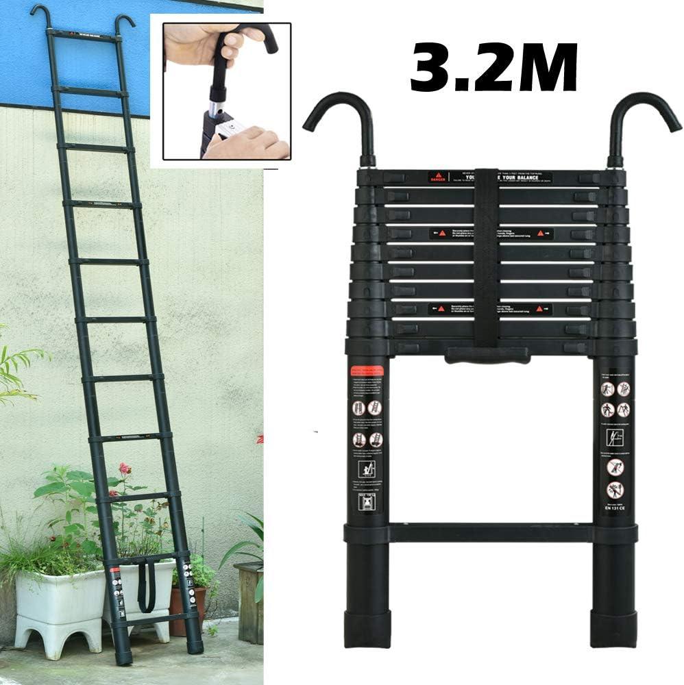 Escalera telescópica multiusos de aluminio con cierre de seguridad extensible plegable de alta calidad escaleras portátiles: Amazon.es: Bricolaje y herramientas