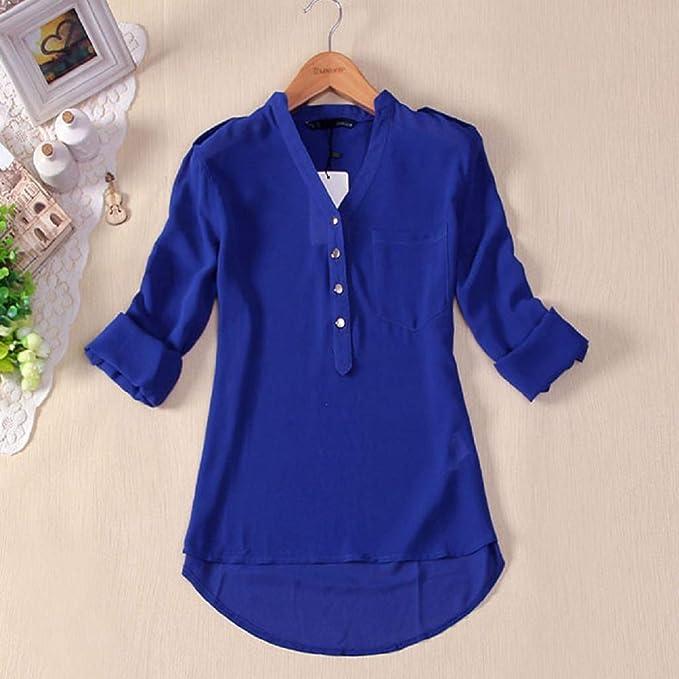 Luckycat 1PC Mujeres Primavera Verano con Cuello en v Gasa Manga Larga Camisa Casual Blusa: Amazon.es: Ropa y accesorios