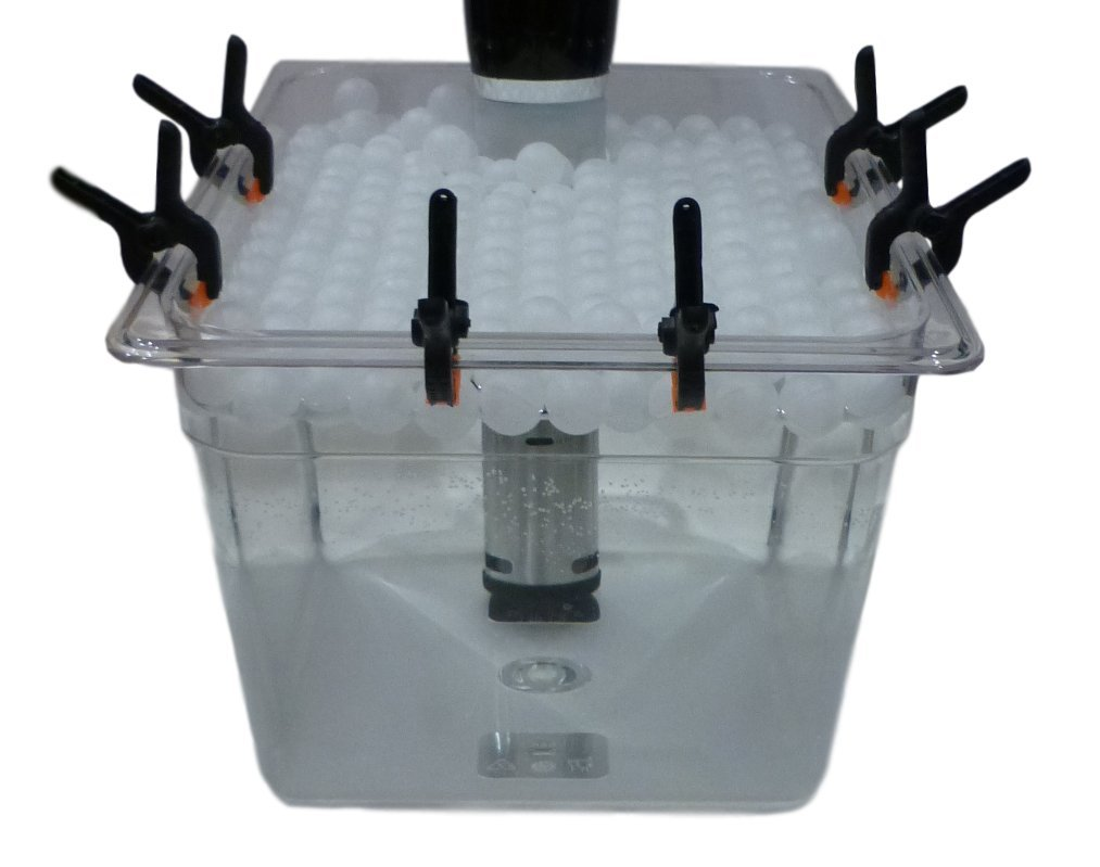 Sous Vide Container, Clips, Floating Ball Cover For Anova and Joule Cookers (Medium)