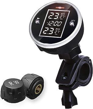 Sistema universale di monitoraggio della pressione dei pneumatici TPMS per motocicli con display del tempo Sensore di pressione dei pneumatici per motocicli 2 Sensori esterni