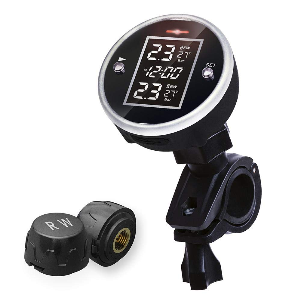 Cheerfulus TPMS Universal Wasserdicht Sensor Motorrad Reifendruckkontroll System mit Zeitanzeige, Wireless Motorrad Reifendrucksensor 2 Externe Sensoren