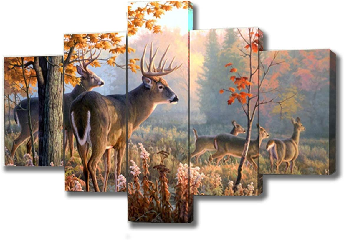 Brown 5 Panel Wall Art Painting Deer In Autumn Forest Pictures Prints On Canvas Animal The Picture Decor Oil For Home Modern Decoration Print